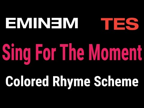 Eminem  Sing For The Moment  Lyric  & Colored Rhyme Scheme