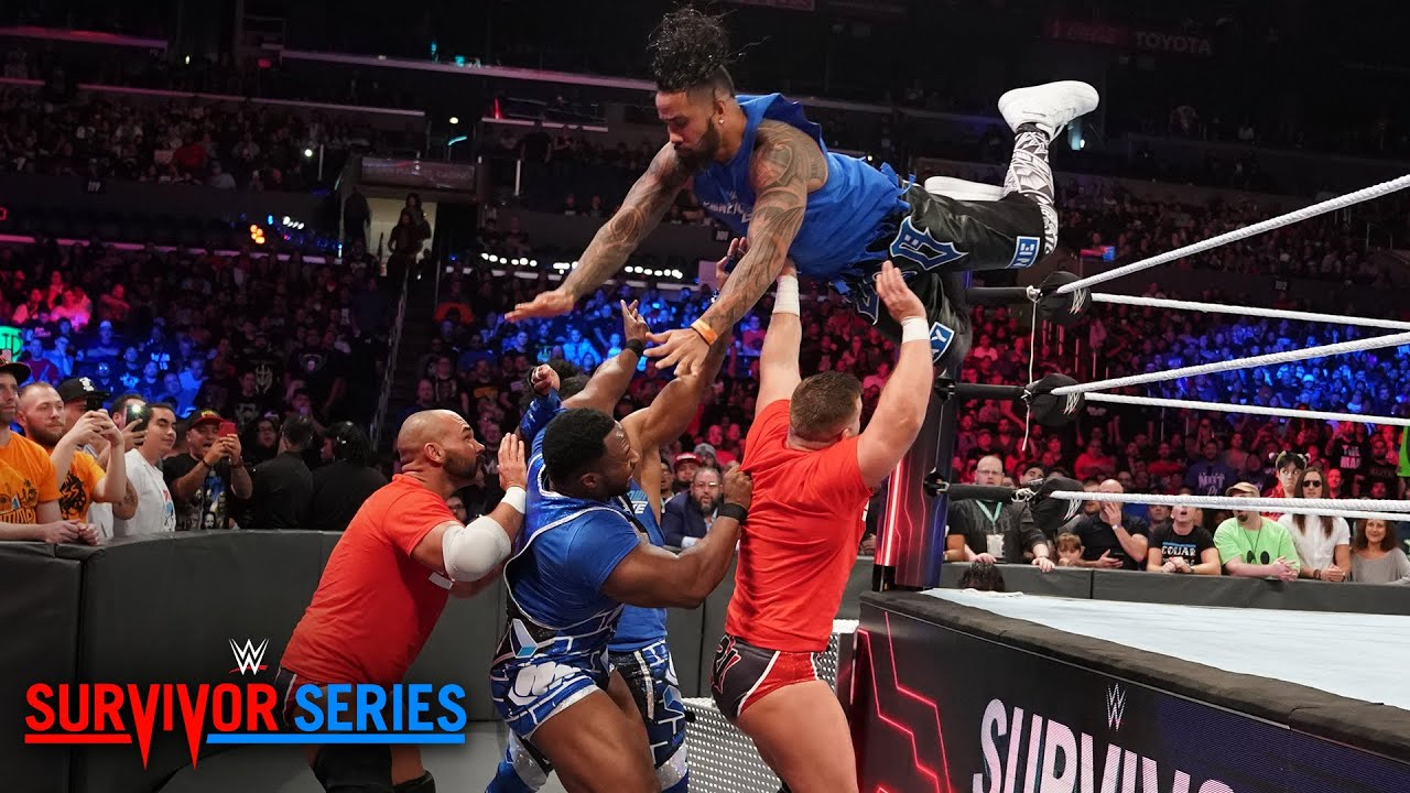 Image result for The Usos fly high to opening victory for Team SmackDown: Survivor Series 2018 Kickoff