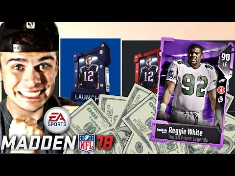 FIRST BIG PACK OPENING! PURPLE LEGEND REGGIE WHITE PULL HE IS A BEAST! | MADDEN 18 ULTIMATE TEAM