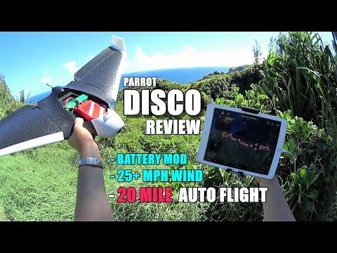 PARROT DISCO - Review Part 3 - [20 Mile Waypoint Flight / Battery Mod / Crash Test]