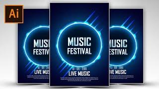 Create a Light Blue Music Festival Poster Using Adobe Illustrator #FreeDownloads