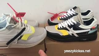 Best UA Off White Nike Air Max 1 Black & White unboxing +review :yeezykickss