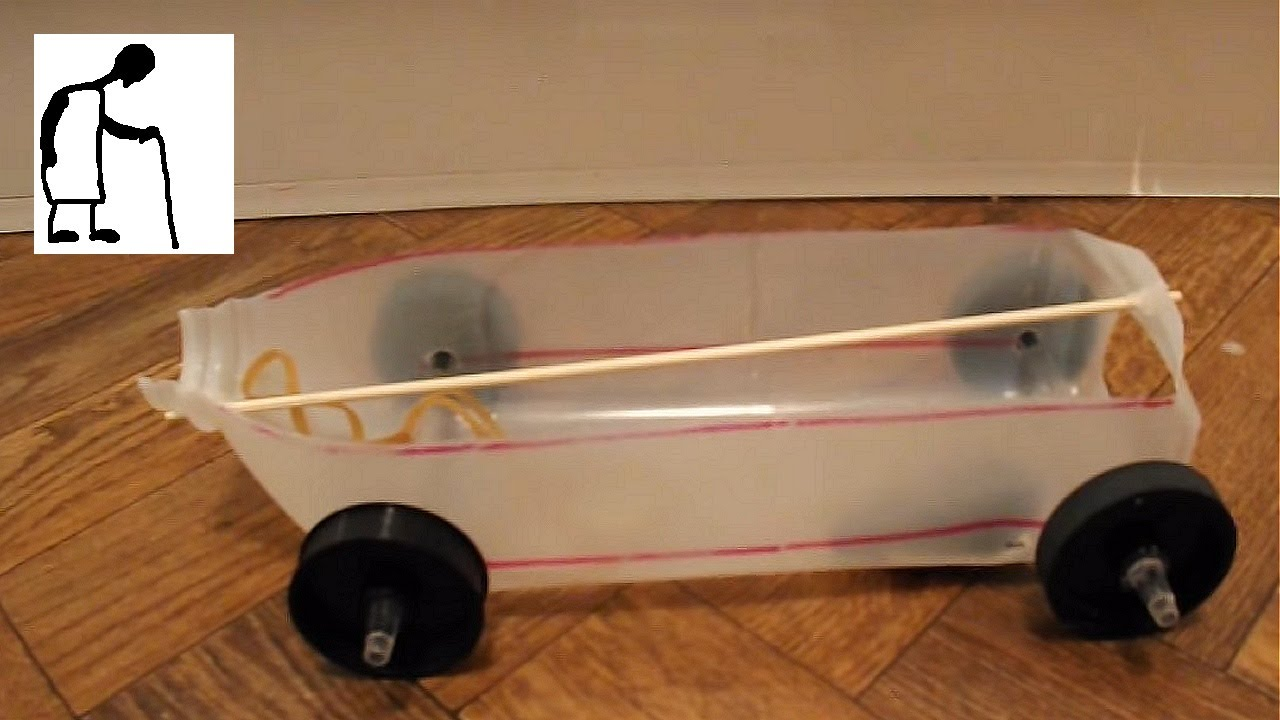 Rubber Band Powered Car Using Printer Rollers For Wheels