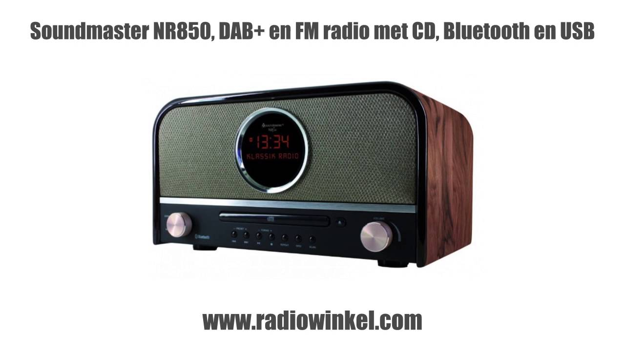 soundmaster nr850 stereo retro dab en fm radio met cd bluetooth en usb youtube. Black Bedroom Furniture Sets. Home Design Ideas