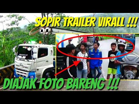 Sopir Trailer Viral !!! Gagal Belok Saat Nanjak, Kepala Trailer Sampai Bergetar !!!