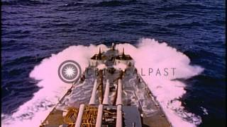 USS San Francisco underway at heavy sea in the Pacific Ocean during World War II. HD Stock Footage
