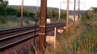 Trains passing Hett Mill Level Crossing near Ferryhill on the ECML