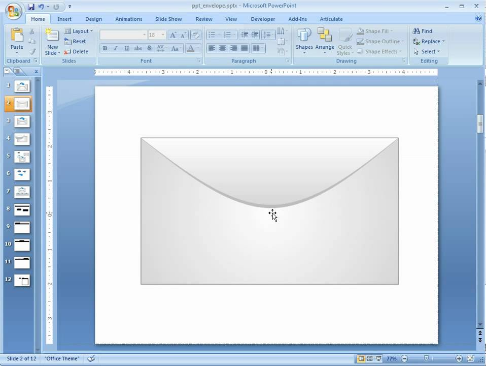 practice your powerpoint skills by creating this envelope