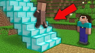 Minecraft NOOB vs PRO: WHERE DOES THIS DIAMOND STAIRS LEAD IN THIS VILLAGE? Challenge 100% trolling
