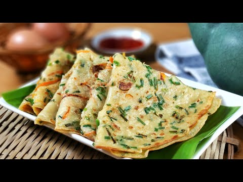 Traditional Chives Chinese Pancake 🧡 古早味煎韭菜麵粉糕   ASMR Cooking 🔊