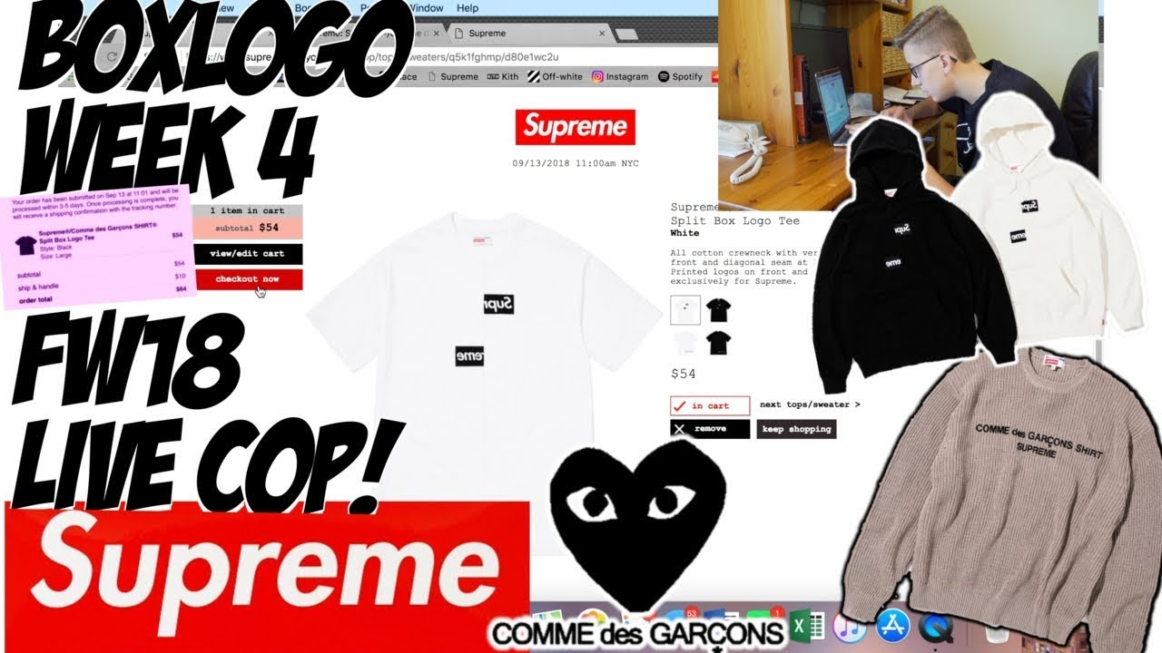 85f58549a784 SUPREME x COMME DES GARCONS BOXLOGO MANUAL LIVE COP WEEK 4 FW18! | HOW MANY  W'S DID I TAKE!?
