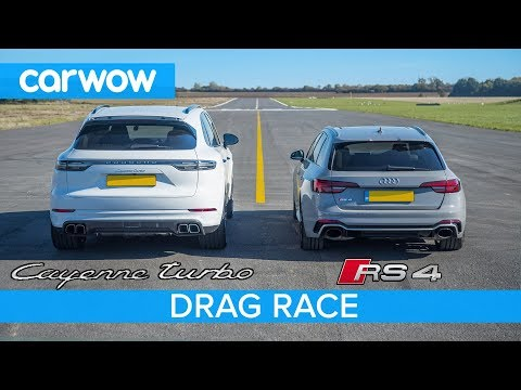 Porsche Cayenne Turbo faces Audi RS4 in 3 rounds of drag racing