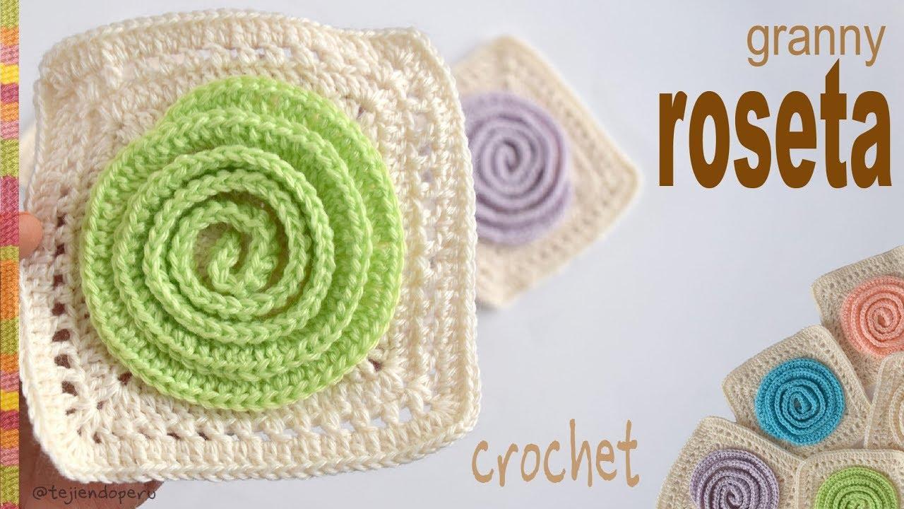 Cuadrado o granny con roseta 3D tejido a crochet - Tejiendo Perú ...