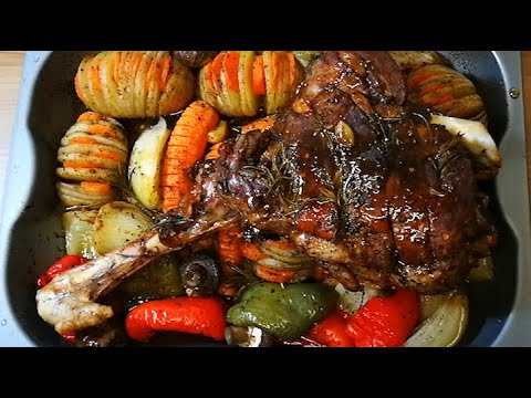 Tasty Roast Lamb Leg With Roast Vegetables Recipe | Food Flame
