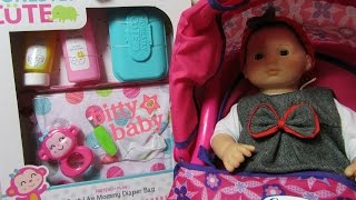 American Girl Bitty Baby doll +  NEW Honestly Cute Just Like Mommy Diaper Bag + Magic Sippy Set