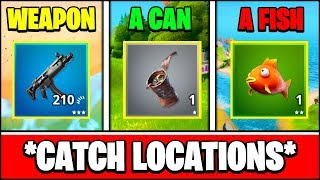 HOW TO CATCH A WEAPON, A CAN, AND A FISH LOCATIONS (Fortnite Season 2 Week 6 Challenges)