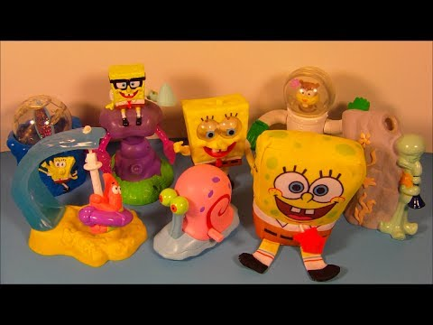 2002 SPONGEBOB SQUAREPANTS SET OF 8 BURGER KING KID'S MEAL TOY'S VIDEO REVIEW