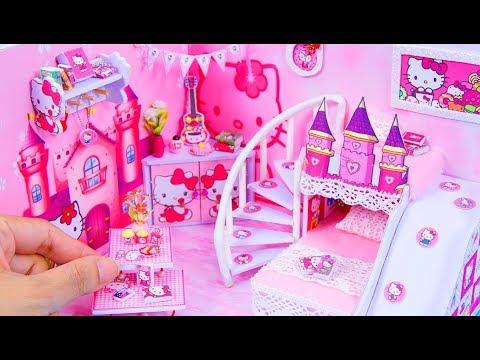 DIY Miniatures Dollhouse Room ~ Hello Kitty Room Decor ~ 10 Minute DIY Doll Crafts #9