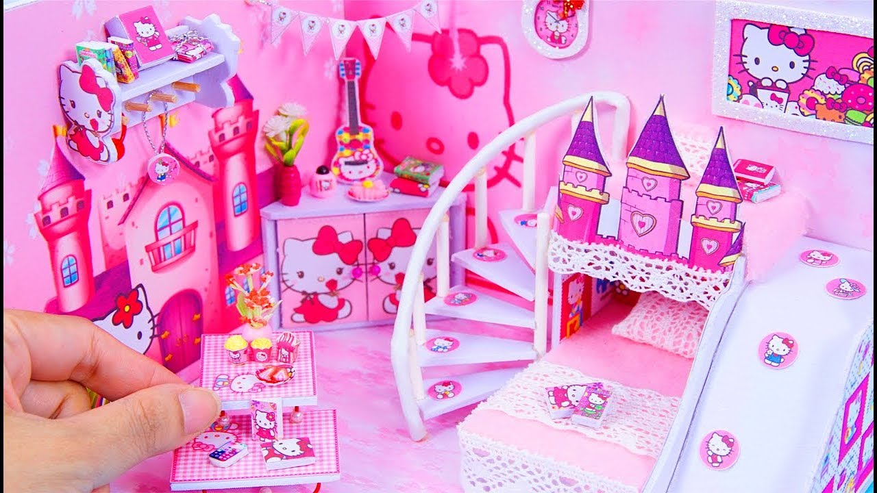 Diy Miniature Dollhouse Room Hello Kitty Room Decor 10 Minute