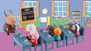 Свинка Пеппа распаковка игрушки Школы свинки пеппы