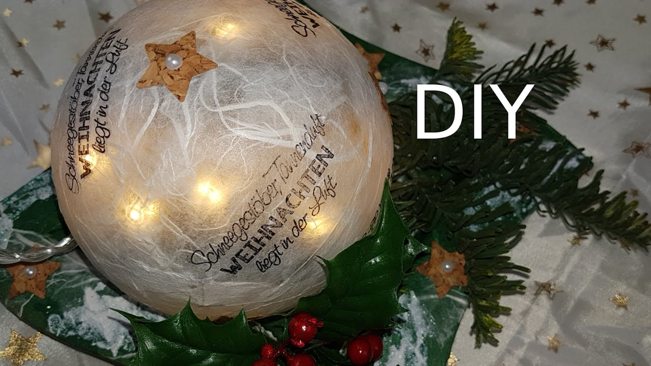weihnachts lichtkugel mit dekoteller korksterne selber basteln diy tutorial in deutsch youtube. Black Bedroom Furniture Sets. Home Design Ideas