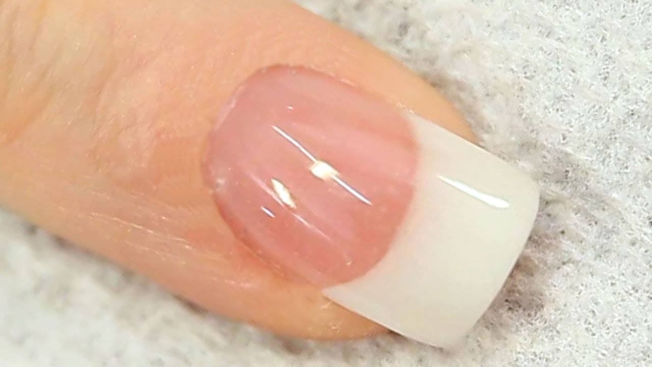 French White Acrylic Nail with Reverse Cover Pink Tutorial - YouTube