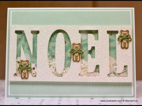 No.218 - NOEL Shaker Card - JanB UK Stampin' Up! Demonstrator Independent