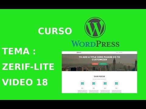 Wordpress. Tema : Zerif Lite. Sección: Portada Estática y Opciones ...
