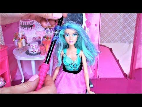 Barbie doll beauty salon hair style makeover  बार्बी सैलून باربي صالون الشعر  barbie salon rambut