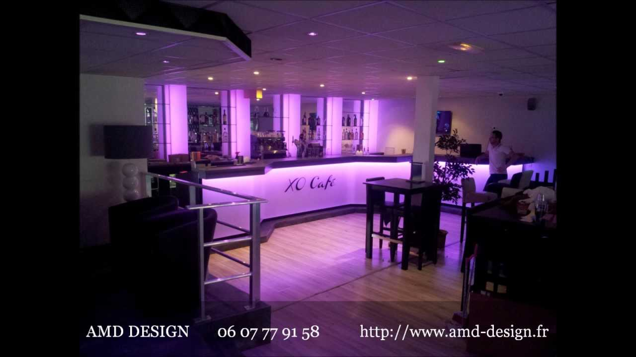 AMD DESIGN Fabricant comptoir bar , Agencement du XO Café - YouTube