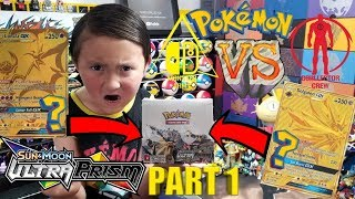 OPENING AN ULTRA PRISM BOOSTER BOX WITH THE RAREST POKEMON CARD OF THE SET INSIDE?!!! BATTLE PART 1