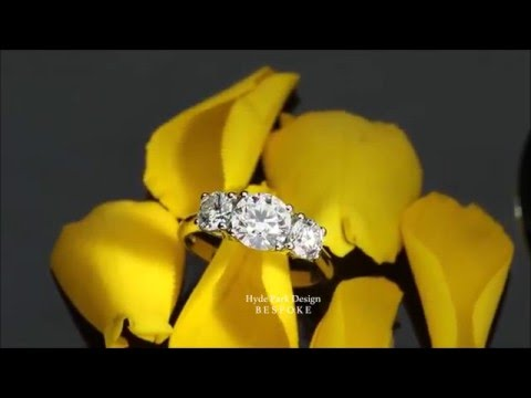 Custom Diamond Trilogy Engagement Ring - Made in London