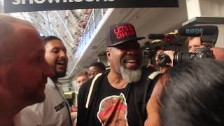 SHANNON BRIGGS REFUSED ENTRY INTO AJ-POVETKIN WEIGH IN THEN OFFERS AJ ADVICE AHEAD OF FIGHT