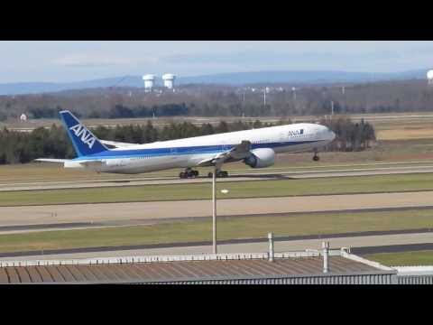 ANA B777-300ER Windy Takeoff from Washington Dulles International Airport