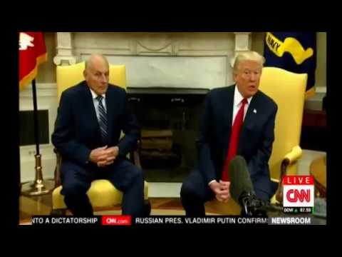 New Chief of Staff Gen John Kelly sworn in meets the press and has  a photo op with President Trump