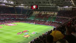 Amazing Fans singing National Anthem of Wales [Wales vs Spain]