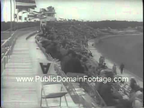 Compact Car Races at Daytona Beach Florida Newsreel Archival Footage PublicDomainFootage.com