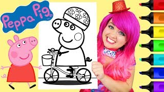 Coloring Peppa Pig Bicycle Coloring Book Page Prismacolor Colored Paint Markers | KiMMi THE CLOWN