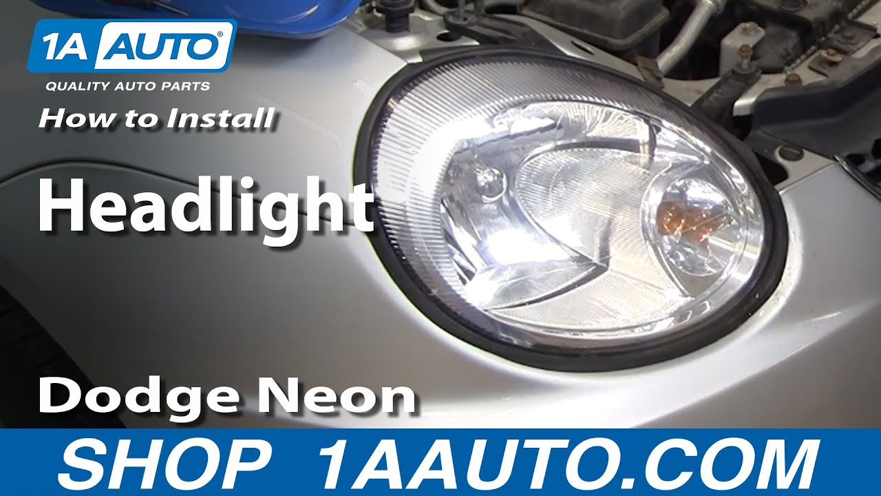 how to install replace headlight dodge plymouth neon 2003 05 1aauto com youtube [ 1920 x 1080 Pixel ]