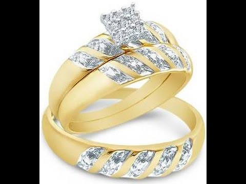 10k Yellow OR White Gold Mens and Ladies Couple Wedding Rings