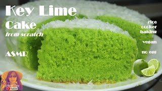 ASMR RICE COOKER CAKE RECIPES: Key Lime Cake from Scratch | No Egg | Vegan