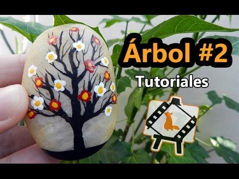Pintura en piedras arbol 2 tutorial youtube for Pintura sobre piedras