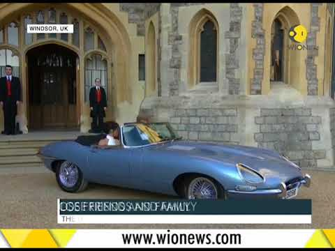 Meghan-Harry leaves for post wedding bash in a Jaguar