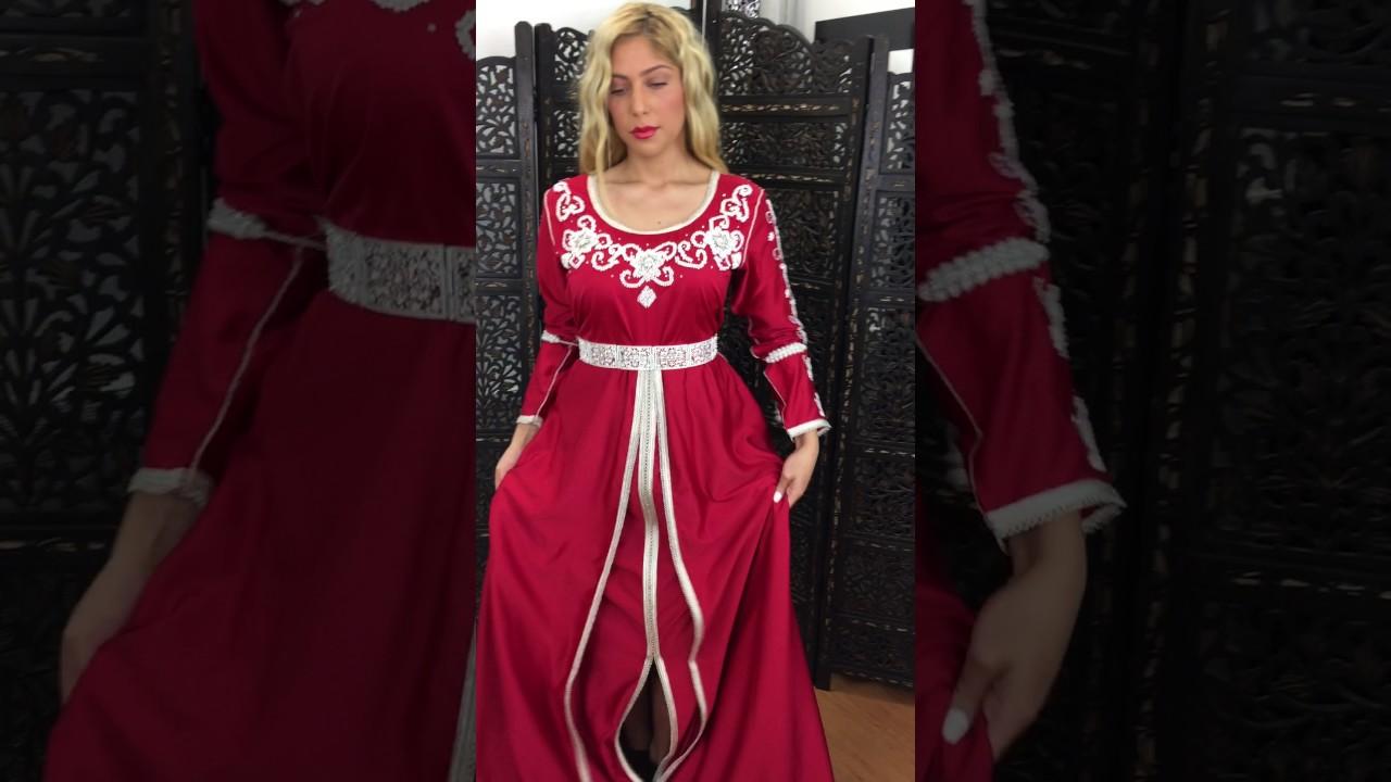 meilleur pas cher En liquidation New York Caftan robe marocaine moderne rouge perlé main de la boutique aniiqa.com