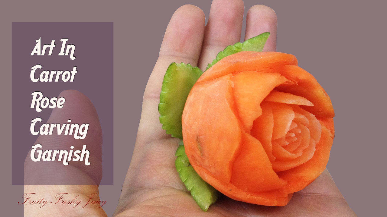 Fruits and vegetables carving designs - Hand Carved Carrot Rose Flower Fruit Vegetable Carving Idea Design