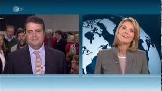 Sigmar Gabriel (SPD) mag Marietta Slomka vom ZDF