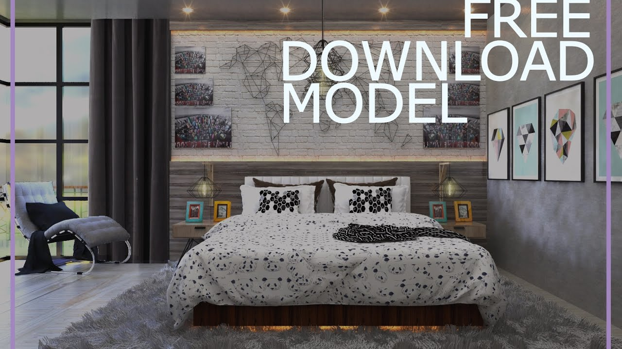 DOWNLOAD FREE MODEL SKETCHUP VRAY BEDROOM 360° VIEW