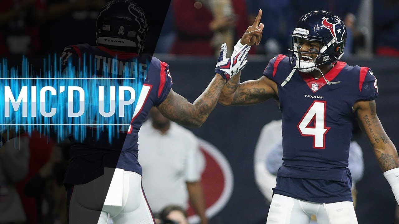 "Deshaun Watson Mic'd Up vs. Titans ""Hey, Lamar! I know you ain't that tired!"" 
