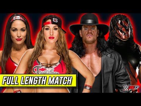 Nikki Bella & Brie Bella VS The Undertaker & Demon Kane WWE 2k17 Tag Team Extreme Rules