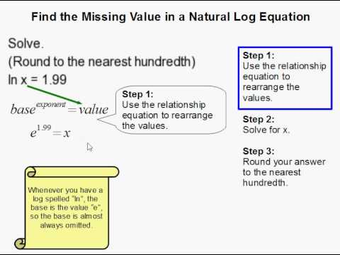 How To Find The Missing Value In A Natural Log Equation Youtube